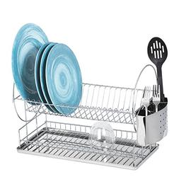 Dish Drying Rack – Two Tier Dish Rack with Drainboard and