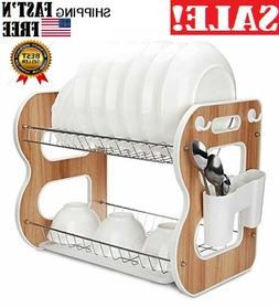 Dish Drying Rack 2-Tier Wood Dish Rack and Drain Board, Larg