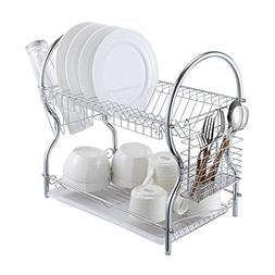 Dish Drying Rack - 2-Tier Chrome Kitchen Dish Drainer Rack O