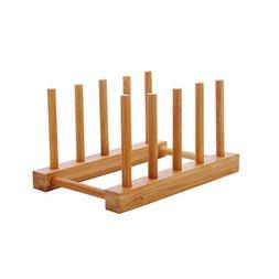 BESTONZON Dish Holder Bamboo Wooden Dish Drainer Drying Rack