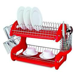 Home Basics Dish Plastic Drainer 2-Tier Red Free Shipping