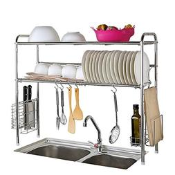 CreaTwo 2-Tier Stainless Steel Dish Rack, Adjustable Dish Dr