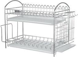 NEX Dish Drainer 304 Stainless Steel Kitchen 2-Tier Dish Rac