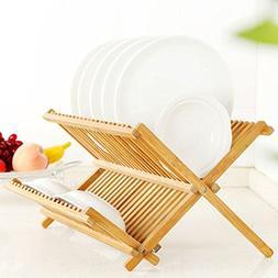 Dish Rack, Bamboo Dish Drying Rack, Collapsible 2-tier Dish