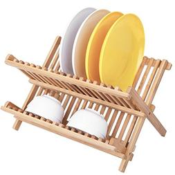 Dish Rack,HBlife Bamboo Folding 2-Tier Collapsible Dish Dryi