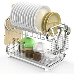 Dish Drying Rack, F-color Stable 2 Tier Dish Rack Easy Insta