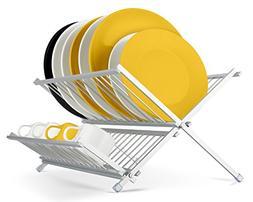 Miusco Dish Rack Aluminum Folding Drying Rack, 2-tier Dish D