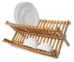 Dish Rack Collapsible Dish Drainer Bamboo Plate Rack Drying