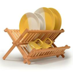 Dish Rack Collapsible Drying Bamboo Rack, Foldable Wood Comp