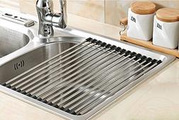 Myliffri Dish Rack Roll-up Dish Drying Rack Stainless Steel