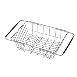 Creatwo Over Sink Dish Drying Rack Adjustable Dish Drainer f