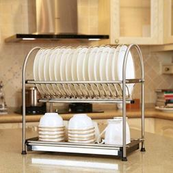 WiseLife 2-Tier Dish Drying Rack and DrainBoard,17L x 10W