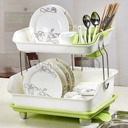 Double Layer Dish Drying Storage Drain Rack Kitchen Shelf Ta