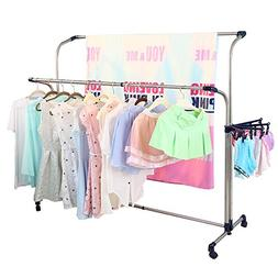 Baoyouni Double Rail Clothes Drying Rack Set For Indoor and