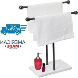 AmazonBasics Double-T Hand Towel and Accessories Stand - Bro