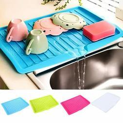 Drain Rack Kitchen Plastic Dish Drainer Tray Large Sink Dryi