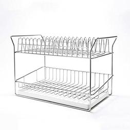 Drain rack, double stainless steel dish rack drainer kitchen