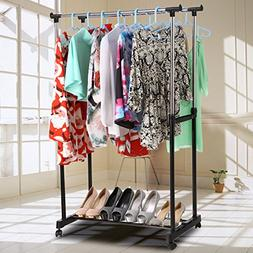 Portable Adjustable Double Rail Rod Hanging Clothes Rack Met