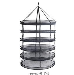 TopoLite Drying Rack Net 3FT 6-Layer Herb Dryer Black Mesh H