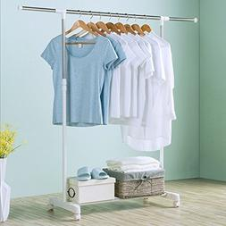 Clothes Drying Rack Single Pole Rail Rod Adjustable Clothes