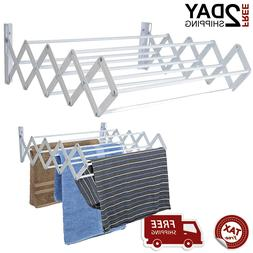 Drying Rack Towel Clothes Laundry Wall Mount Folding White 2