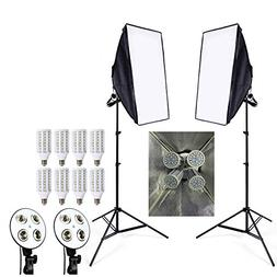 8pcs 24w LED E27 Bulb Photo Stuido Soft Box Set Video Lighti