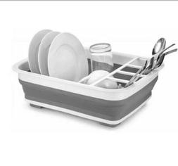 Home Basics Easy Storage Collapsible Dish Rack and Drainer w