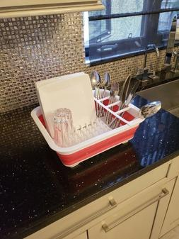Easy Storage Collapsible Drying Dish Rack Drainer with Cutle
