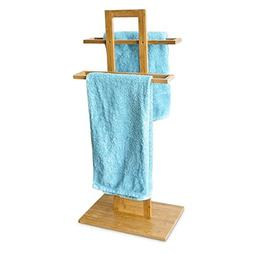 Relaxdays Bamboo Towel Rack Stand Rails Holder 2 Towels 37 x