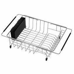 SANNO Expandable Dish Drying Rack Adjustable Rack in Sink Dr