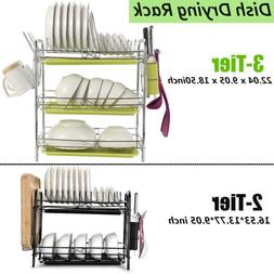 2/3 Tier Dish Plate Cup Drying Rack Organizer Drainer Storag