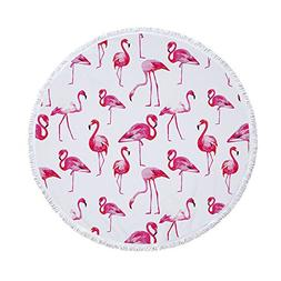 PYHQ Flamingo Art Circle Beach Towel Cover Cotton Tassel Wal