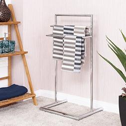 Tangkula Floor Towel Holder 3 Tier Bathroom Free Standing Ba