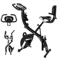 Foldable 3 in 1 Stationary Upright Folding Exercise Bike Wor