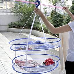Foldable Clothes Basket Dryer Mesh Net Drying Rack 2 Tiers L