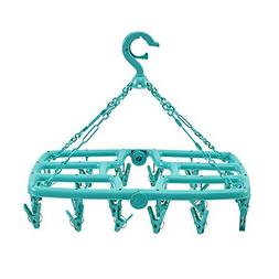 Rain&Shine Foldable Clip and Drip Laundry Hanger with 24 Str