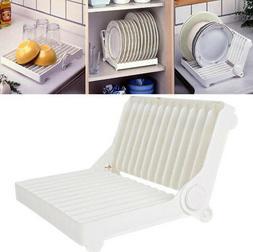Foldable Dish Drying Rack Holder Plastic Sink Dish Rack For