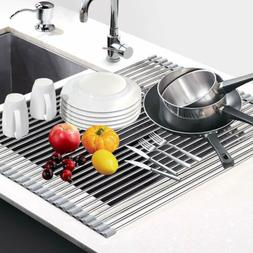 Foldable Dish Drying Rack Stainless Steel Over Sink Rack Kit