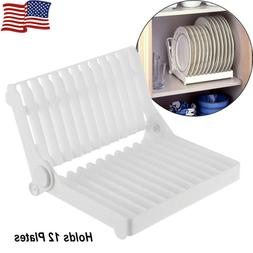 Foldable Dish Plate Drying Rack Organizer/Drainer Plastic St