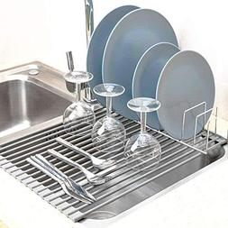 SANNO Foldable Dish Rack Over The Sink Multipurpose Roll-Up