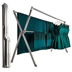 iEllevie Foldable Double Rods Stainless Steel Expandable Clo