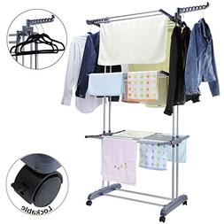 Voilamart Clothes Drying Rack 3 Tier with Wheels, Foldable C