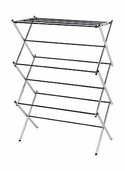 amazonbasics foldable clothes drying laundry rack chrome