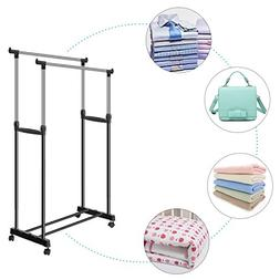 Modrine Foldable Clothes Drying Rack Double Pole Rail Rod Ad