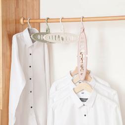 Foldable Hanger Storage Racks Closet Organizer 9 Hole Clothe