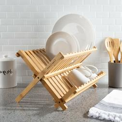 Foldable Kitchen Drying Rack Dish Drainer Wooden Bamboo Home