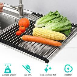 """18.5X15.7"""" Over the Sink  Roll-Up Dish Drying Rack  Drainer"""