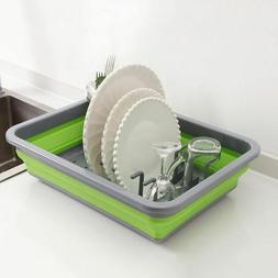 Foldable Silicone Dish Rack Kitchen Storage Drainer Holder D