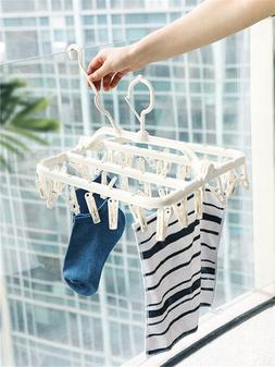 Foldable Underwear Sock Clothes Hanger Laundry Airer <font><