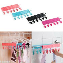 Folding 6 Clips Drying Rack For Underwear Bra Socks Clothes